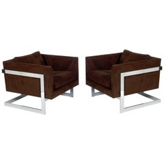 Pair of Chrome Cube Lounge Chairs by Milo Baughman