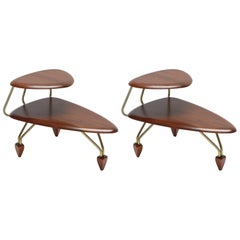 Pair of Surfboard Side Tables by John Keal for Brown Saltman