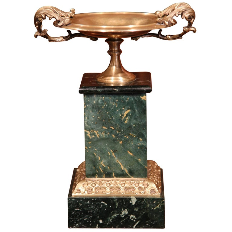 19th Century, French Brass Vide Poche Dish with Green Marble Base