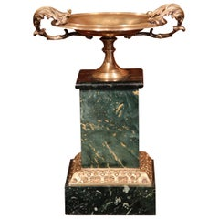 19th Century French Patinated Brass Vide-Poche Tray on Green Marble Base