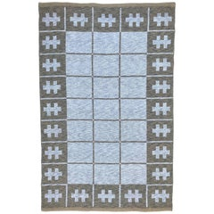 1950 Swedish Double Side Flat-Weave Wool Kilim Carpet