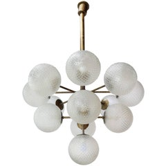 Large Brass Chandelier with Pebbled Glass Balls
