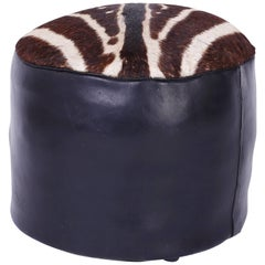 Mid-Century Zebra Hide and Leather Foot Stool or Hassock