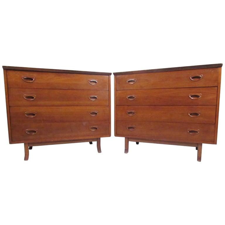 Pair of Mid-Century American Walnut Dressers