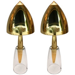 Pair of Brass and Murano Glass Lamps by Leola, Germany, 1980s