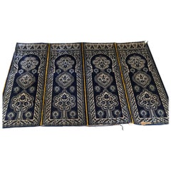 Antique Moroccan Moorish Silk Blue Tapestry Four Panels