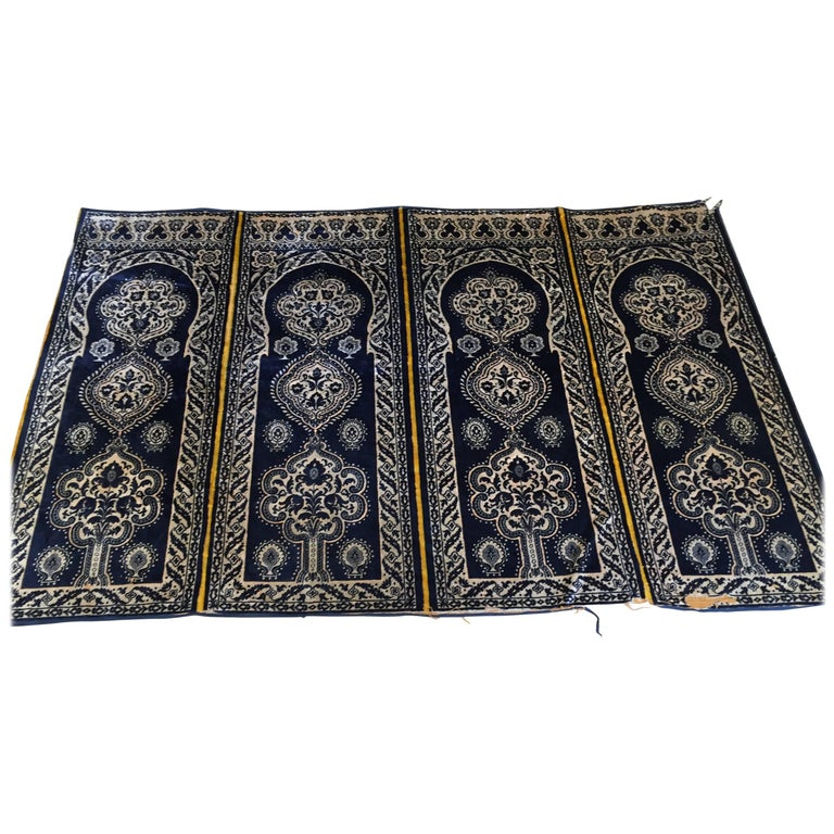 Antique Moroccan Moorish Silk Blue Tapestry Four Panels
