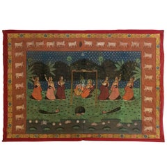 Large Pichhavai Silk Hand Painting