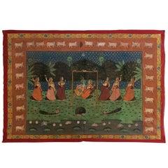 Large Pichhavai Silk Hand Painting