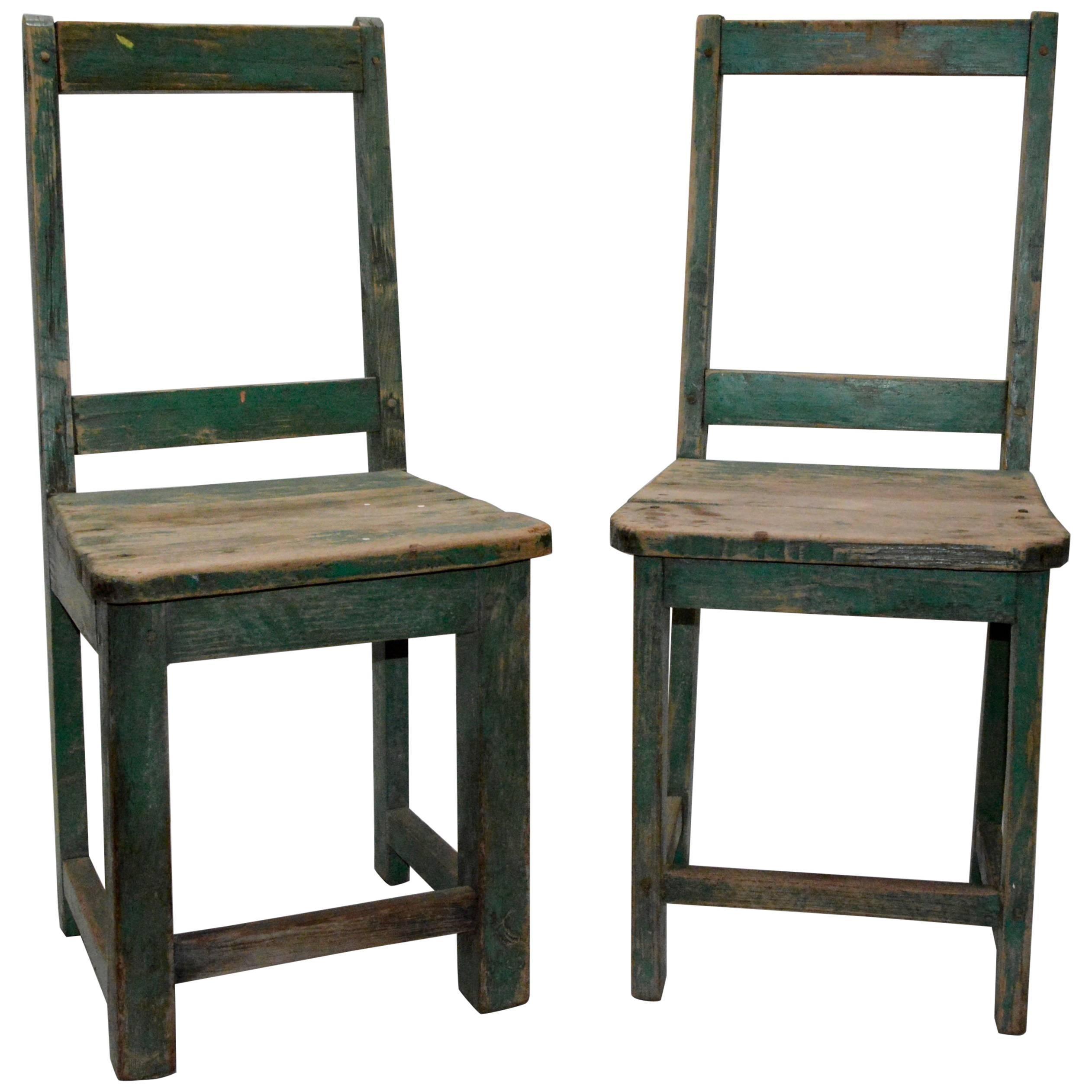 Pair Of Primitive Spanish Folk Art Chairs