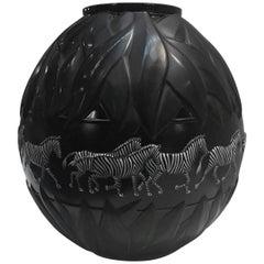 Lalique Black and White Enameled Zebra Tanzania Vase