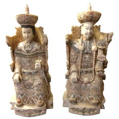 Intricately Carved Bone Pair of Chinese Ancestral Figures