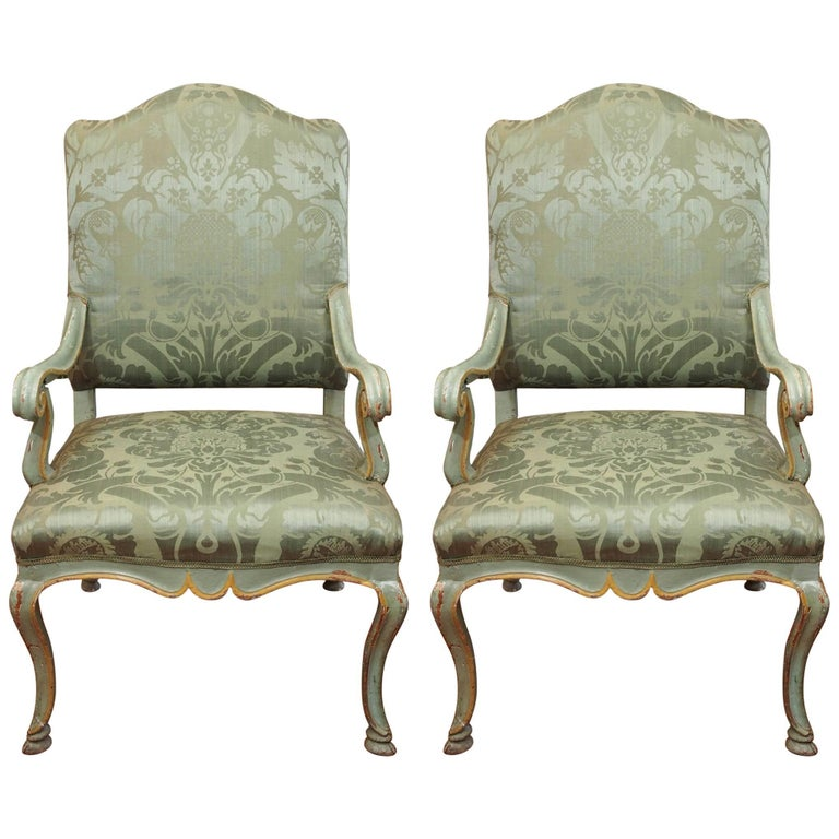Pair of Italian 19th Century Pained Armchairs