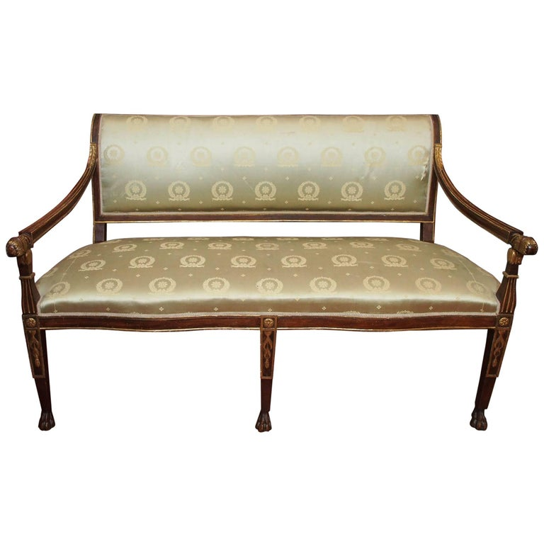 Italian Walnut and Parcel Gilt Empire Settee