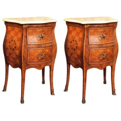 Pair of 18th Century Italian Marquetry Commodini