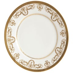 Set of 10 Dessert Plates White and Gold, Limoges France, Antique