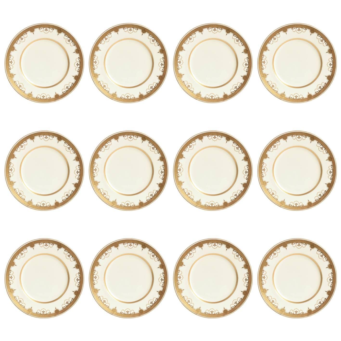 12 Antique Tiffany Dinner Plates, Heavy Gilt Encrusted Medallion Swag Design