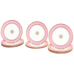 12 Antique Pink and Gold Dessert Plates, Gilt Centre Medallion