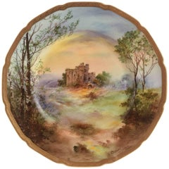 "Antique English Castle Plate, Artist Signed ""Hurstmonceaux"""