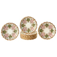 12 Exquisite and Stunning Plates, Pink and Green, Raised Gilt Encrusted, Scallop