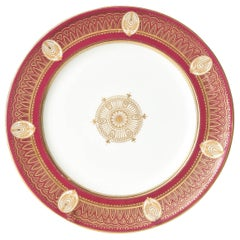 Stunning Ruby Red & Gilt Dinner Plates, Gold Medallion Centers, Raised Detail.11