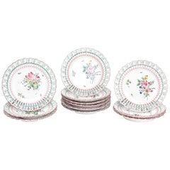 12 Luneville, France Reticulated Hand-Painted Plates, Rare Pink Green Collars