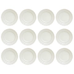 12 Dinner Plates, Antique Berlin, All White Blanc De Chine, Basket Weave Edge