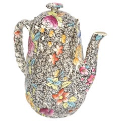 Charming Chintz Coffee Pot, Antique English, Black Background