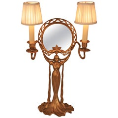 Bronze Art Nouveau Tabletop Mirror with Candleholder