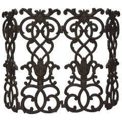 View this item and discover similar fireplace tools and chimney pots for sale at 1stdibs - A standing single pane wrought iron fireplace screen.  In the manner of Oscar Bach.
