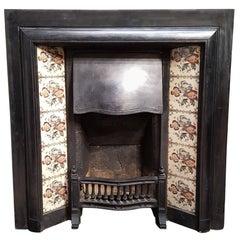 Cast Iron English Fireplace Edwardian Early 21st Century Original Flower Tiles