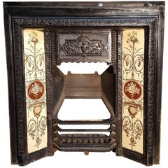 Original Cast Iron English Edwardian Fireplace with Original Roman Style Planter
