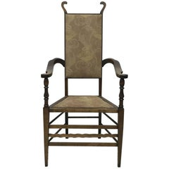 J S Henry Arts and Craft Walnut Armchair with Period Stylised Floral Fabric