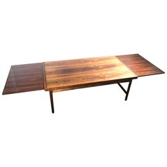 1960 Swedish or Danish Two-Tone Rosewood Coffee Table with Extended Trays