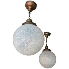 Large Opaline Crinkle Glass Globe Railroad Pendant Lights