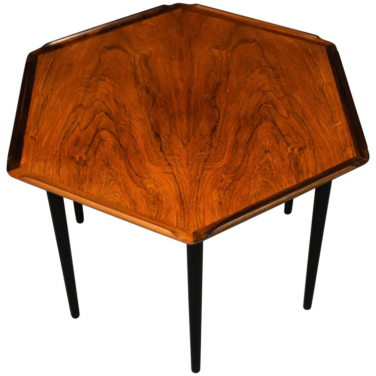 Danish Mid Century Modern Occasional Side Coffee Table Rosewood: Rare Danish Mid-Century Rosewood Side Table For Sale At