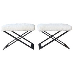 Pair of 'X' Steel-Base Stools with Shearling Upholstery
