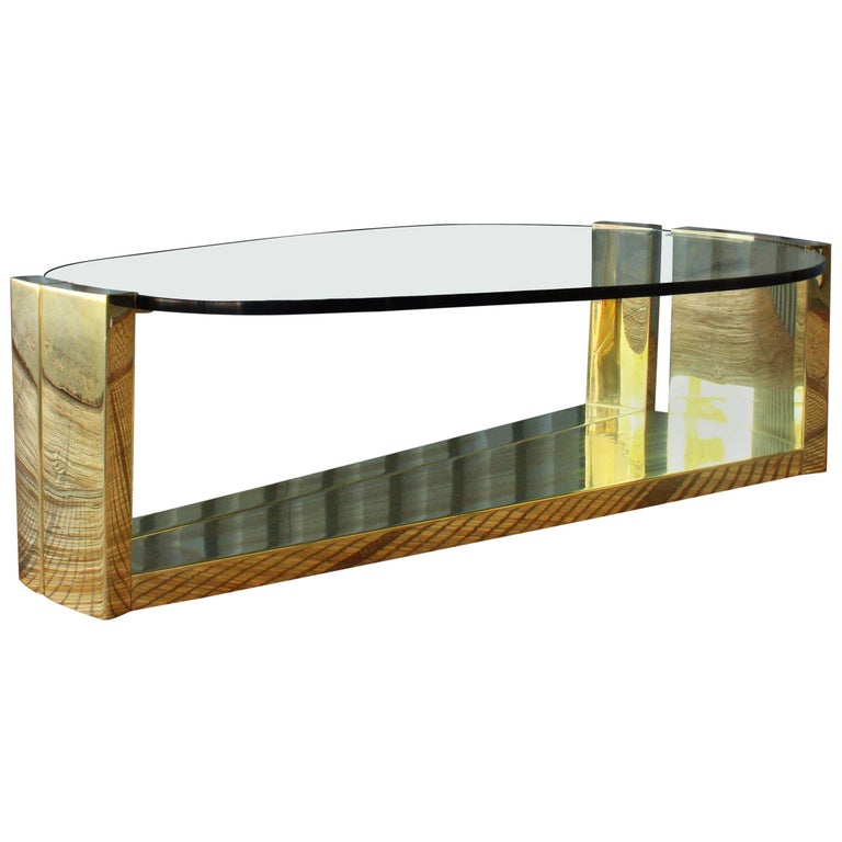 1970s brass coffee table with oval shaped glass top at 1stdibs Oval shaped coffee table
