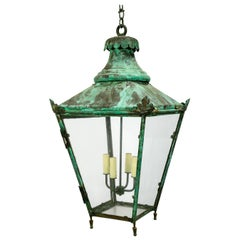 Large Green Patina English Lantern