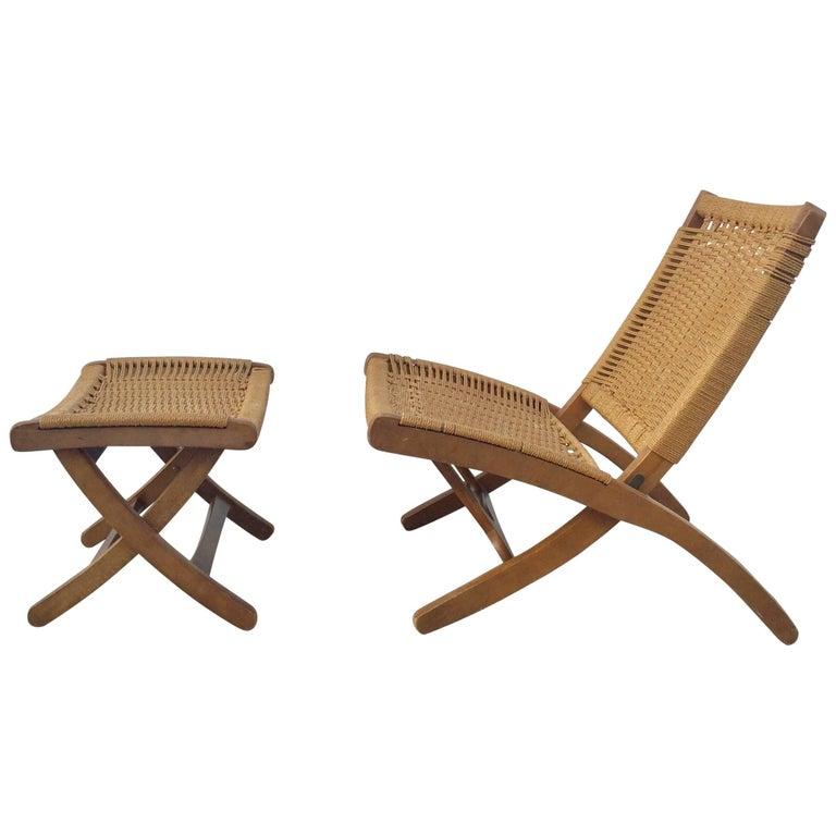 Hans Wegner Style Woven Folding Chair and Ottoman