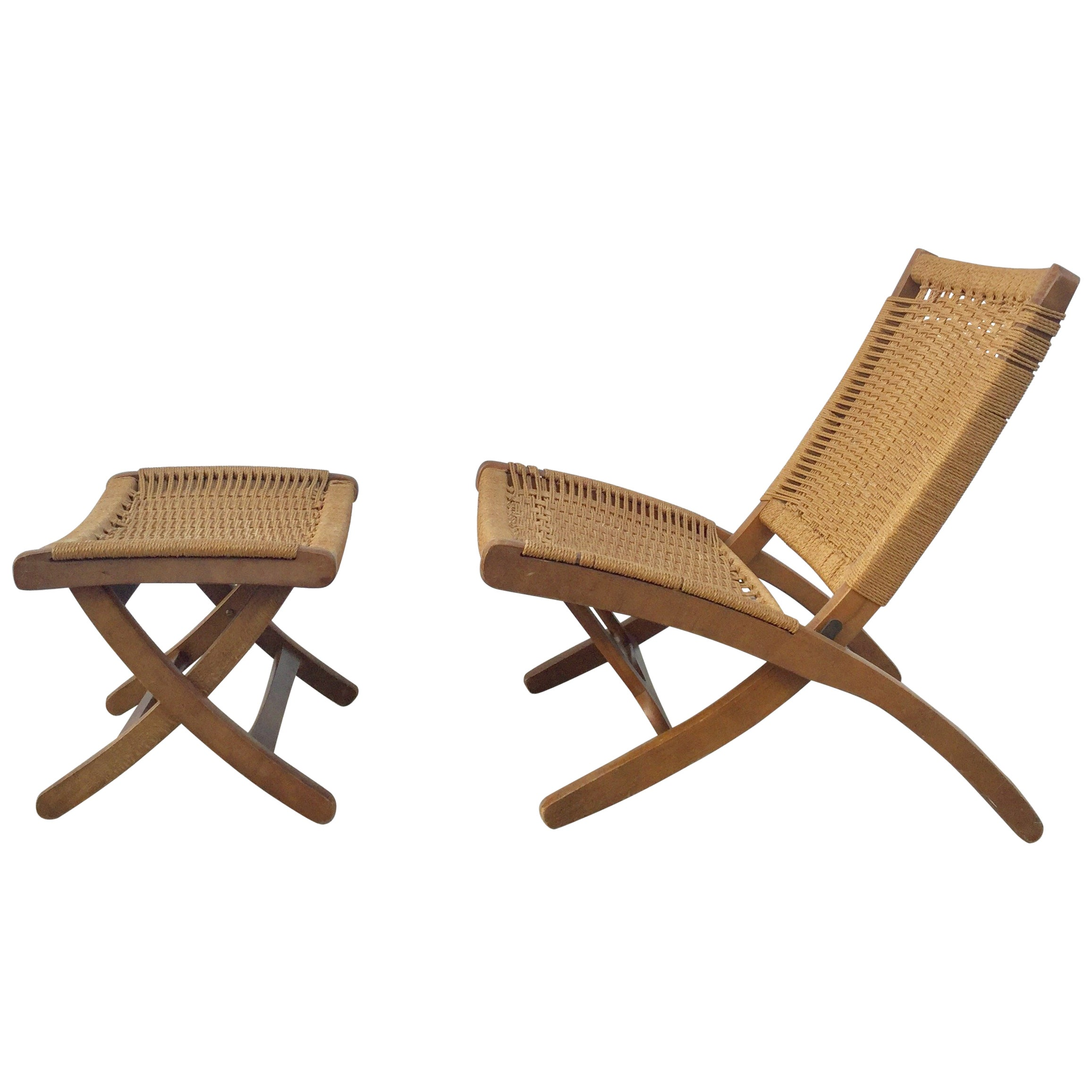 Woven Folding Chair and Ottoman