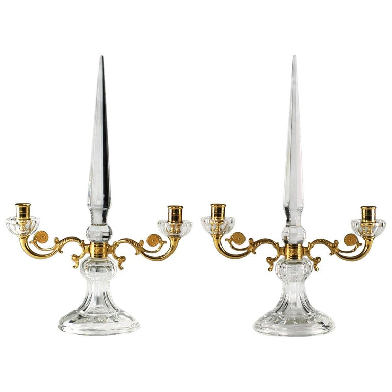Pair of French Crystal and Bronze Doré Two-Light Candelabra