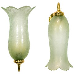 Antique Pale Green Textured Glass Bellflower Scroll Arm Sconces