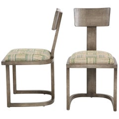 NK Collection T Chair Upholstered in Green Plaid Finish in Smoked Oak
