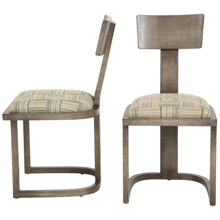 NK Collection T Chair Upholstered in Green Plaid Finish in Smoked Oak 1
