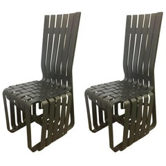 "Pair of ""High Sticking"" Black Hard Wood Chairs by Frank Gehry for Knoll Int'l"