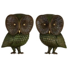 Owl Wall Hanging Sculpture Plaques by Burwood Product Co Mid-Century Modern Pair