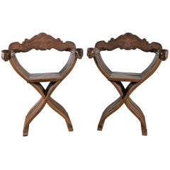 Walnut Savonarola Chairs with Carved Lion Head Arms Vintage, Pair
