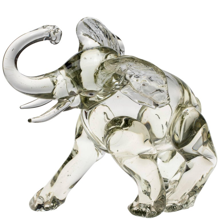 Murano Glass Elephant Figurine For Sale