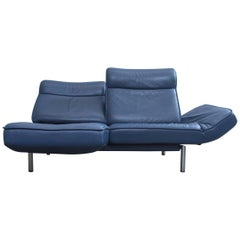 De Sede DS 450 Designer Leather Sofa Blue Relax Function Two-Seat Modern